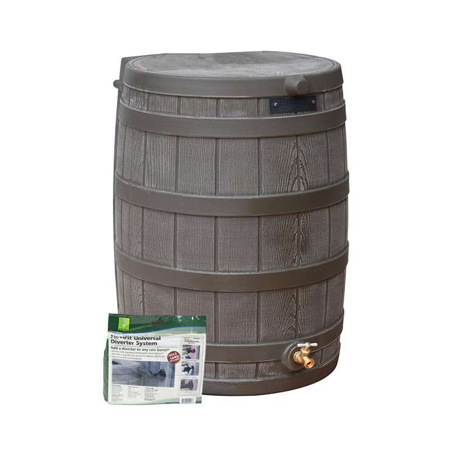 RW50-DIV-OAK Good Ideas Rain Wizard Rain Collection Barrel 50-Gallon w/ Diverter Kit, Oak