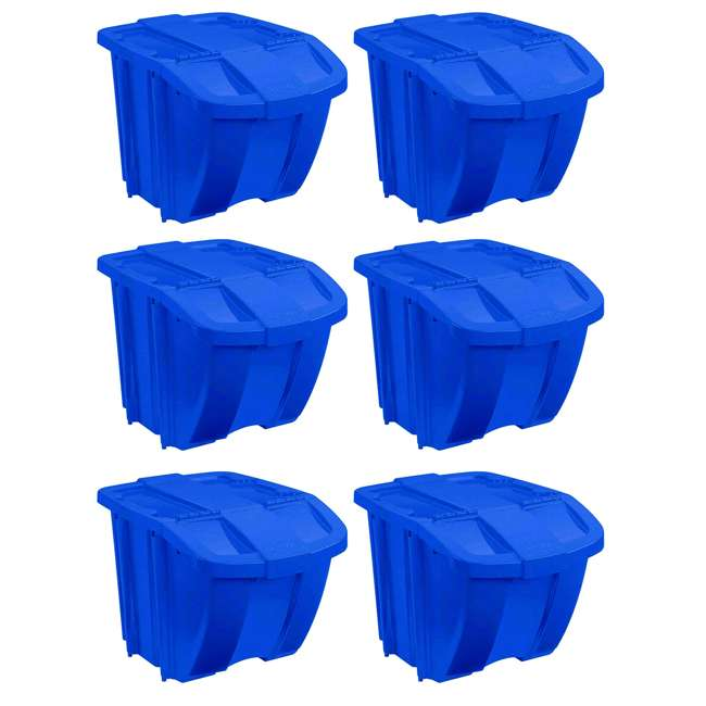 BH181212 Suncast 18 Gallon Durable Stackable Resin Home Recycle Storage Bin w/ Lid, Blue (6 Pack)