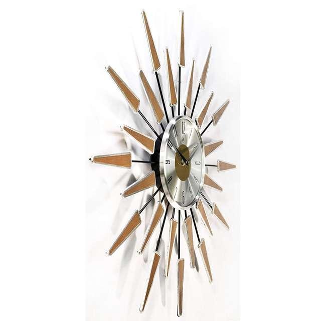 15196WL-4127 Infinity Instruments Sunburst Mid-Century Metal Satellite Wall Clock, Walnut 2