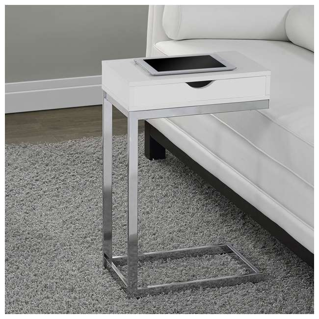 MS-VM3031-U-A Monarch Specialties Accent End Table with Drawer, White (Open Box) (2 Pack) 1