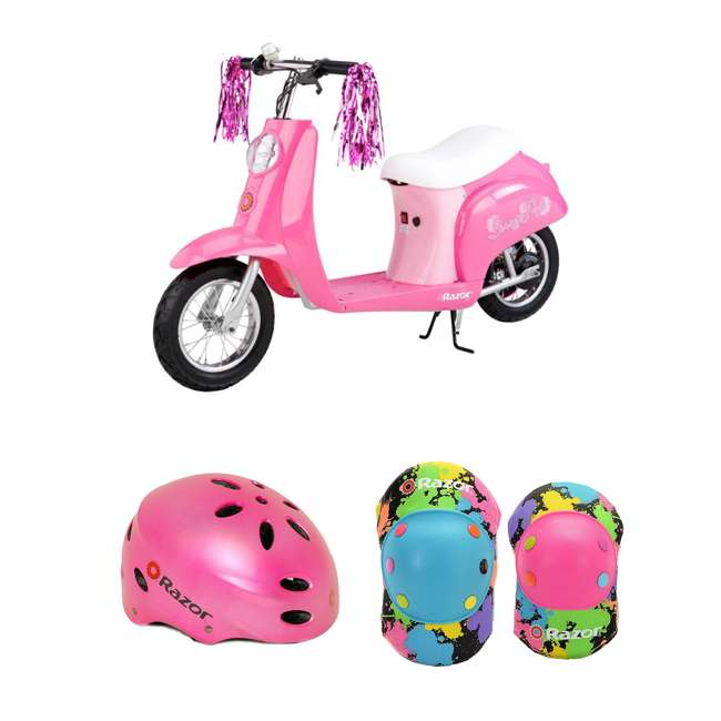 15130659 + 97783 + 96761 Razor Electric Retro Kids Scooter, Pink w/ Youth Sport Helmet, Elbow & Knee Pads