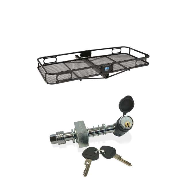 """PRO-SERIES-63153 + SHP2040 Pro Series Cargo Basket + 5/8"""" Silent Hitch Pin Press-On Lock for 2"""" Hitches"""