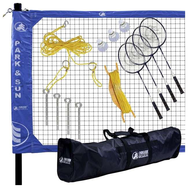 BM-PS/Alum/BL Park & Sun Sports Complete Outdoor Badminton Set with Carry Case, Blue