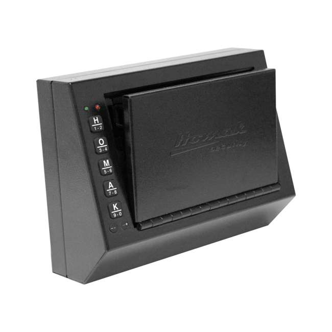 HS10036683 Homak 3.5 Inch Small Steel Electric Pistol Box with Quick Access Key Pad, Black