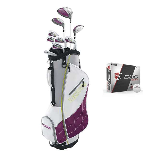 WGGC43400 + WGWP40000 Wilson Ultra Ladies Right-Handed Super Long Golf Club Bag Set & Balls