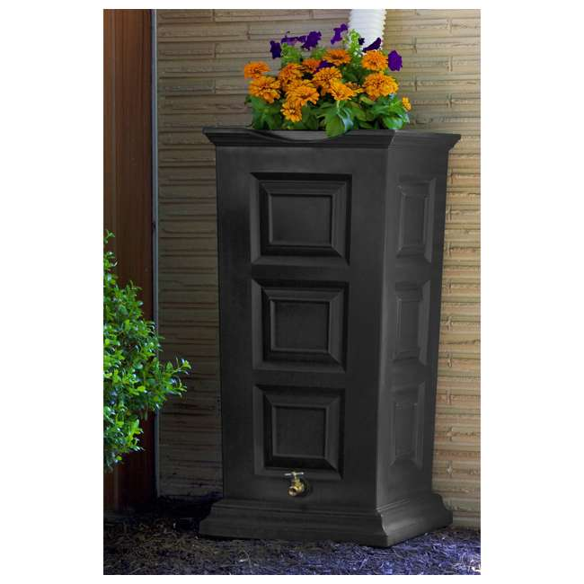 SV-RS-DAR Good Ideas Savannah Outdoor 55 Gallon Rain Barrel and Planter, Dark Granite 2