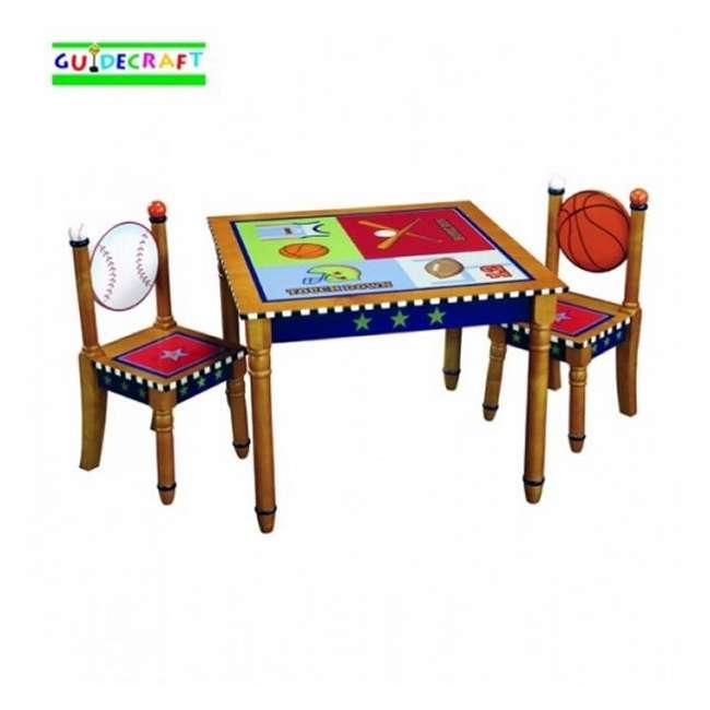 G85602 Guidecraft Playoffs Kids Sports Wood Table & Chair Set