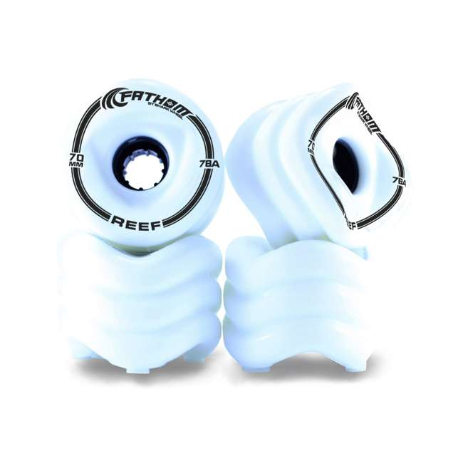 SW8165 Fathom by Shark Wheel 70MM Reef Skateboard Wheel Set, White
