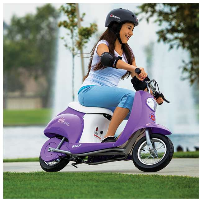 15130661 + 97783 + 96785 Razor Pocket Mod Betty Electric Scooter (Purple) with Helmet, Elbow & Knee Pads 1
