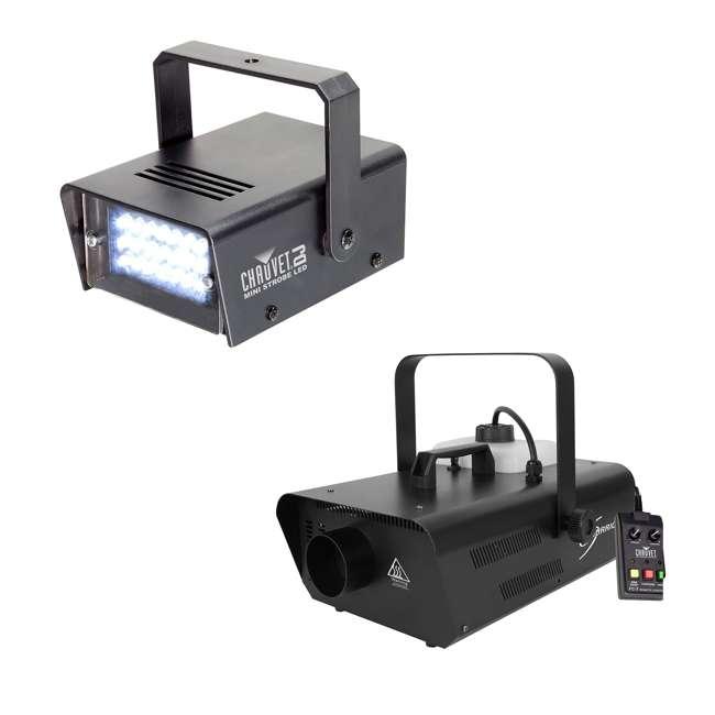 H1302 + MINISTROBE-LED Chauvet DJ Hurricane Smoke Fog Machine w/ Wired Remote plus Mini Strobe Light