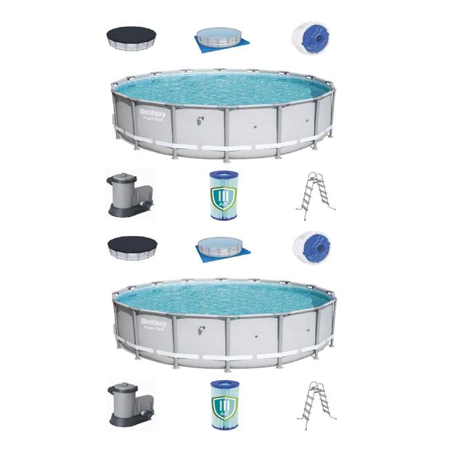 56399E-BW Bestway 18 x 4.3 Foot Reinforced Steel Frame Above Ground Swimming Pool (2 Pack)