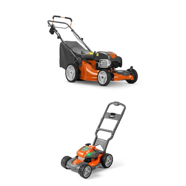 HV-WB-961480062 + HV-TOY-589289601 Husqvarna Walk Behind Mower Electric Start Gas Powered Toy Lawn Mower for Kids