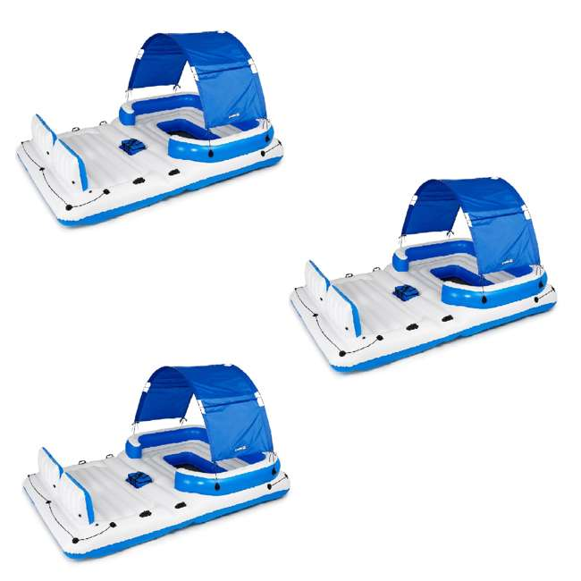 3 x 43105E-BW Bestway CoolerZ Tropical Breeze 6 Person Floating Raft Lounge (3 Pack)