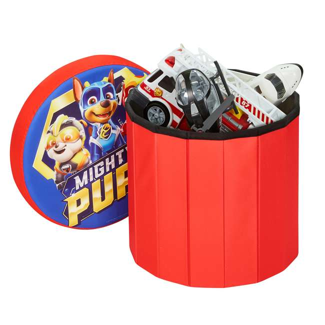 520122-005 Fresh Home Elements 15-Inch Round Portable Toy Chest and Ottoman, Paw Patrol 2
