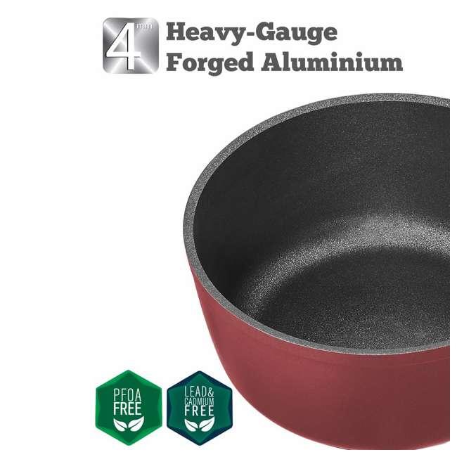 SFSAUCE2TRED Saflon 2 Quart Nonstick Quart Titanium Coated Aluminum Sauce Pan with Lid, Red 2