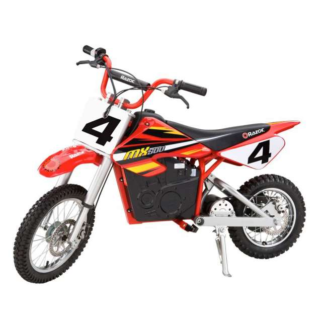 15128190 + 96785 + 97775 Razor MX500 Dirt Rocket Electric Moto Bike with Helmet, Elbow & Knee Pads 1