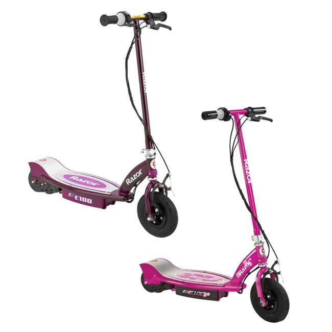 13111250 + 13111263 Razor E100 Kids 24 Volt Electric Powered Ride On Scooter, Pink & Purple (2 Pack)