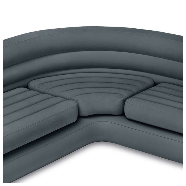 64447EP + 68575VM Intex Queen Ultra Plush Deluxe Air Mattress w/ Pump & Headboard & Corner Couch 7