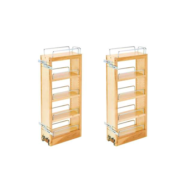 448-WC-5C Rev-A-Shelf 448-WC-5C 5 In Pull Out Wall Cabinet Organizer, Maple Wood (2 Pack)