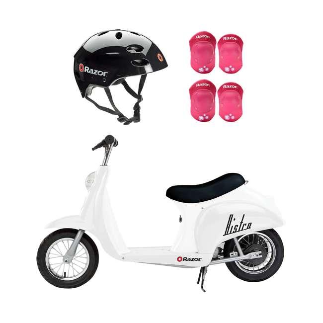 15130608 + 97778 + 96783 Razor Rechargeable Ride-on Scooter + Bicycle Helmet + Elbow & Knee Pad Set