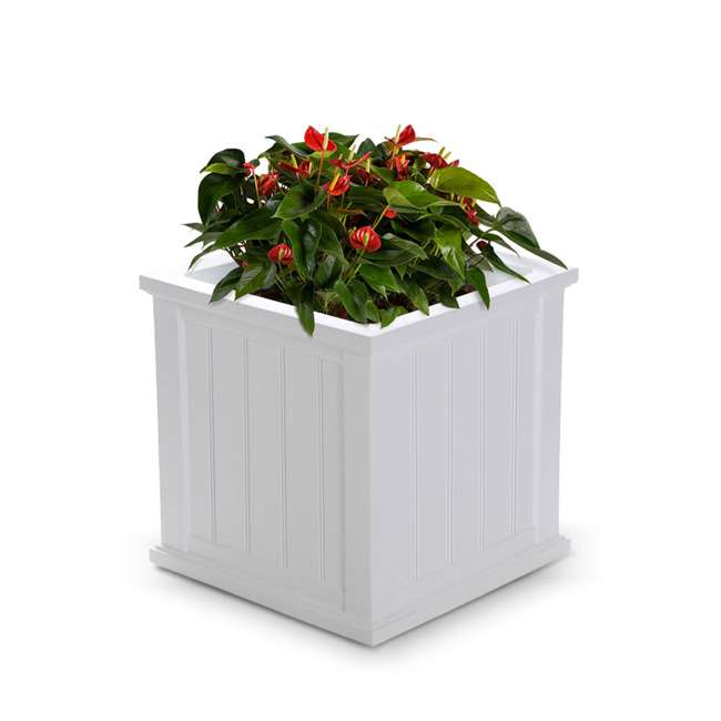 MO-4838-W Mayne Cape Cod Large 20 In Square Plastic Outdoor Flower Pot Planter Box, White