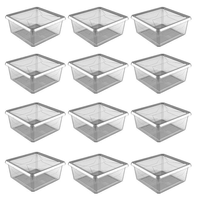 12 x FBA32785 Ezy Storage Karton Medium 9 Qt Plastic Storage Container Box with Lid (12 Pack)
