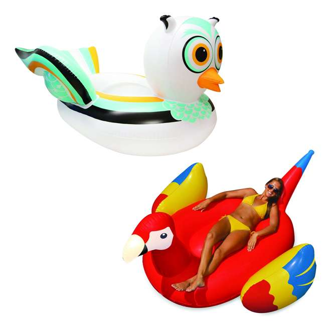 SL-90721M + 90629 Pool Giant Owl Inflatable Bundled w/ Giant Tropical Parrot Inflatable Float