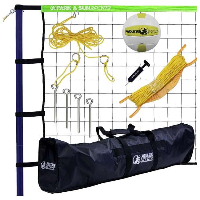 S-SPORT-STL-GR Park & Sun Spiker Sport Steel Green Outdoor Volleyball Net Set (2 Pack) 1