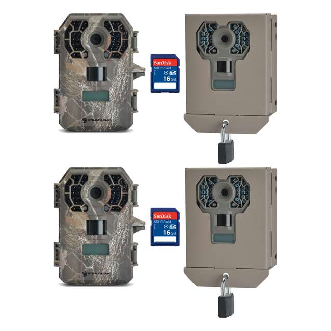 STC-G42NG + 2 x STC-BBG + 2 x SD4-16GB-SAN Stealth Cam G42NG 10MP Game Camera, 2 Pack with Cases & SD Cards