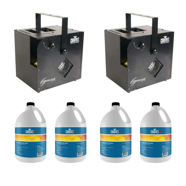 HURRICANE-HAZE2D + 4 x HFG-FLUID Chauvet DJ Haze/Smoke/Fog Machine (2 Pack) & FGH Fluid (4 Pack)