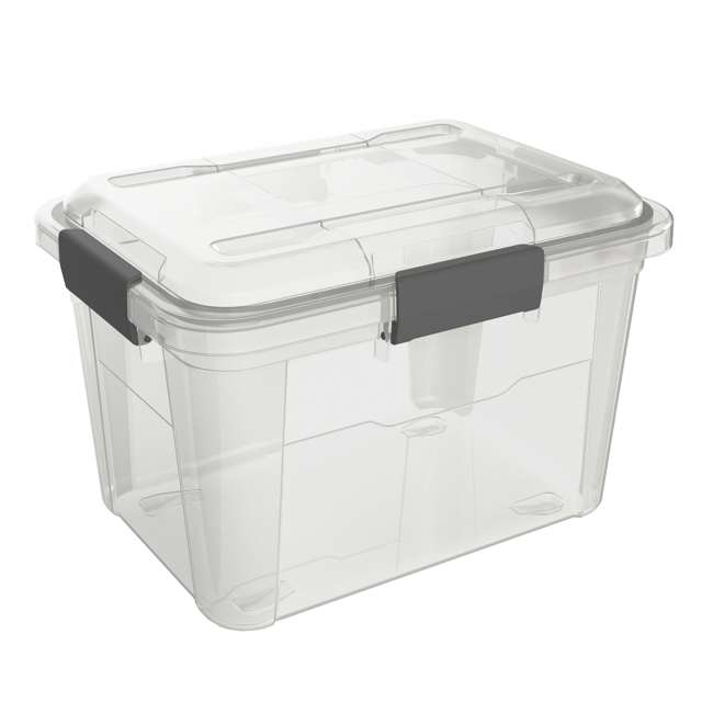 6 x FBA32225 Ezy Storage Weather Proof IP65 18 Liter Plastic Storage Container w/Lid (6 Pack) 1