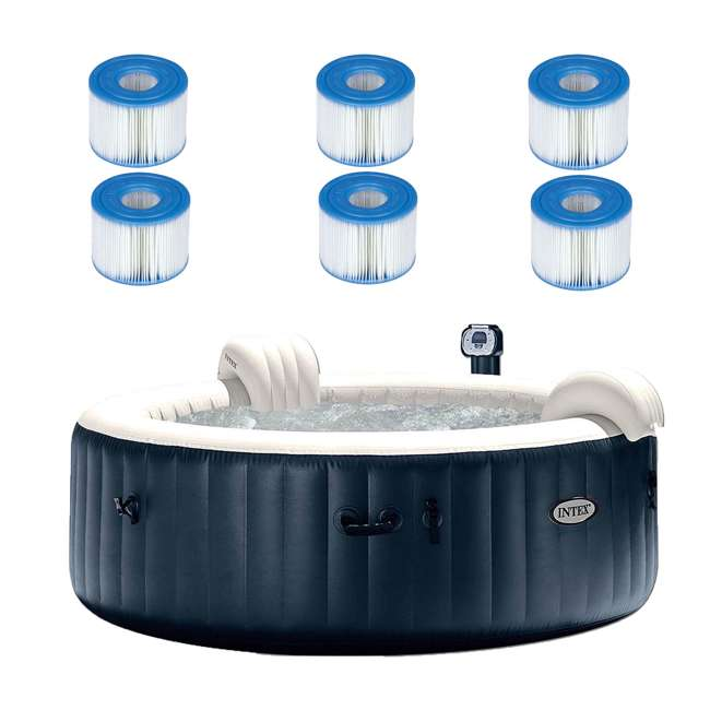 28409E + 3 x 29001E Intex PureSpa Inflatable 6-Person Hot Tub with 6 Filters