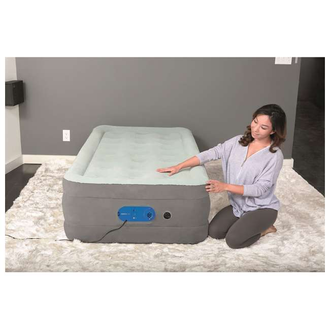 """67625E-BW-U-A Bestway AlwayzAire Gray 18"""" Raised Air Bed with Built-in Pump, Queen (Open Box) 2"""