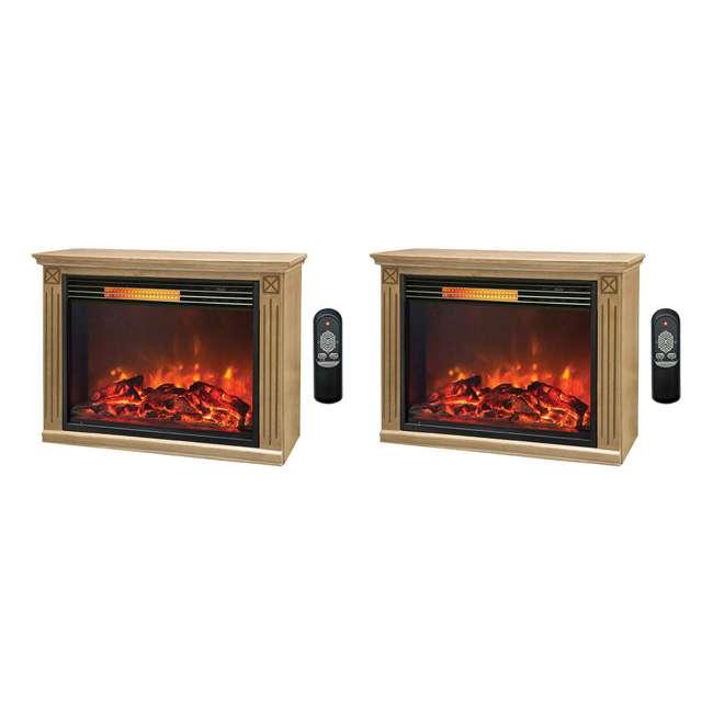 LS-ZCFP1062US Lifesmart Light Oak Infrared Fireplace w/ Remote (2 Pack)