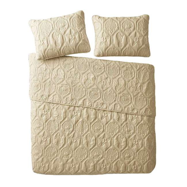 SHO-3QT-KING-IN-TAN VCNY Home Shore Tan 3 Piece Reversible Bed Quilt and 2 Pillow Shams Set, King