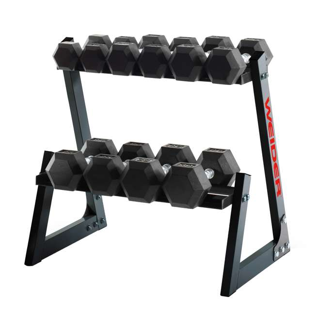 WDBKR20017-BOX1+WDBKR20017-BOX2+WDBKR20017-BOX3 Weider 200-Pound Rubber Hex Dumbbell Set with Rack and Foam Massage Roller 1