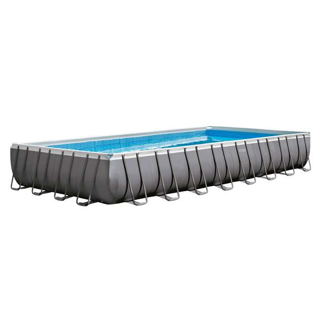 "26371EH + K905CBX Intex 32' x 16' x 52"" Ultra Frame Rectangular Swimming Pool Set w/ Butterfly Vac 1"