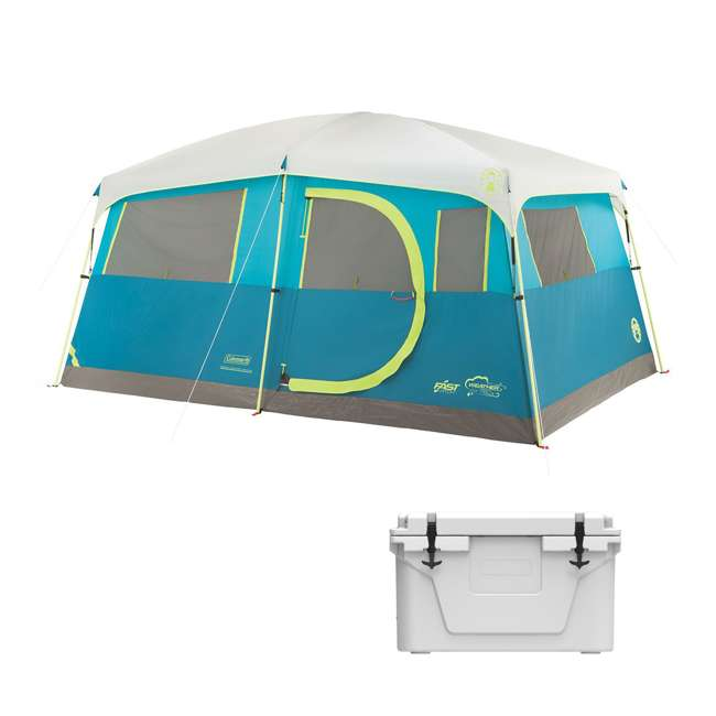 A-2000018088-G + 2A-CM002W Coleman Tenaya Lake 8-Person Instant Cabin Tent & 42 Can Cooler