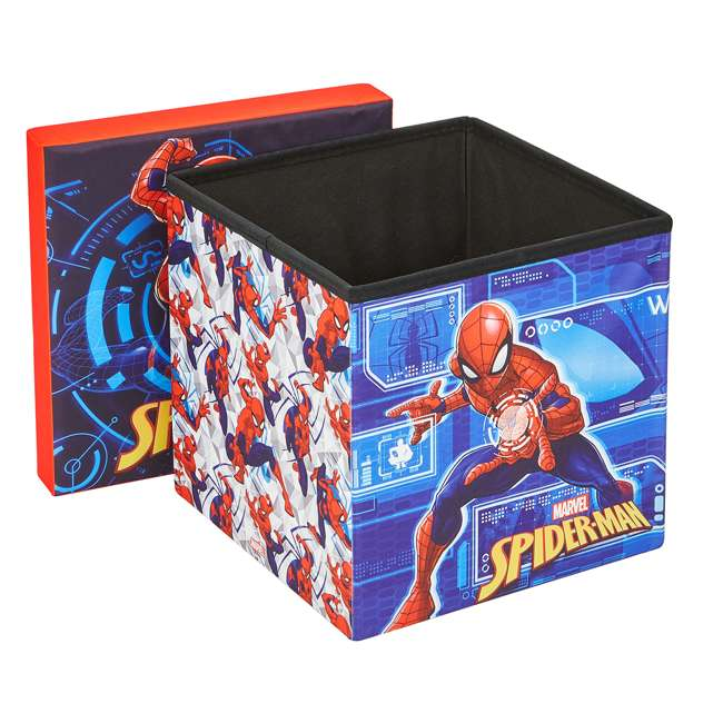 520018-001 Fresh Home Elements 15-Inch Portable Toy Chest & Ottoman Cube, Marvel Spider-Man 1