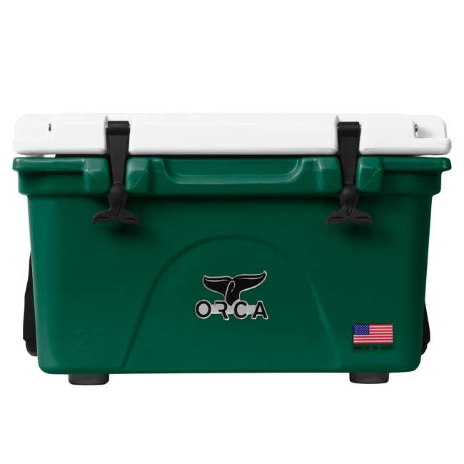 ORCGR/WH026 Orca 26 Quart 24 Can High Performance Roto Molded Insulated Ice Cooler, Green