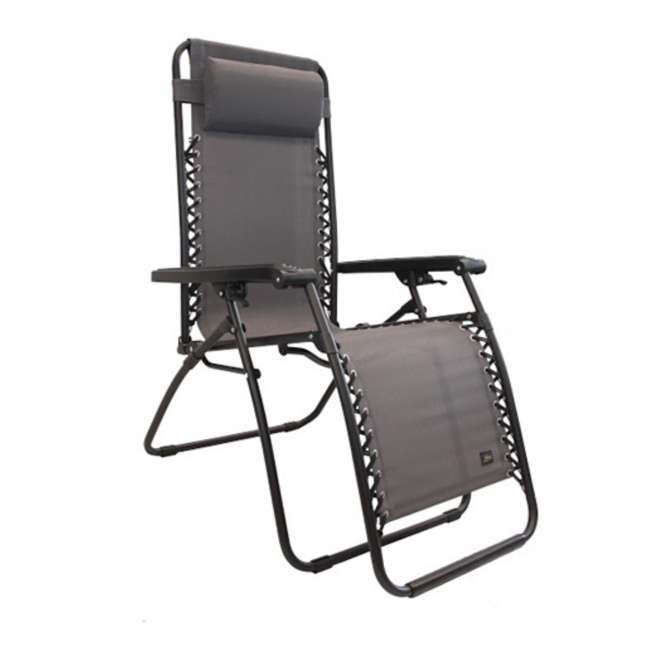 GFC-430P-C Bliss Hammocks GFC-430P-C 26 Inch Zero Gravity Lounger Chair with Pillow, Gray