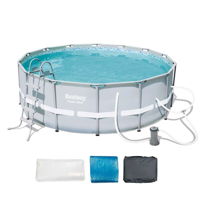 Bestway 14 39 X 48 Power Steel Frame Above Ground Pool Set 56445e Bw