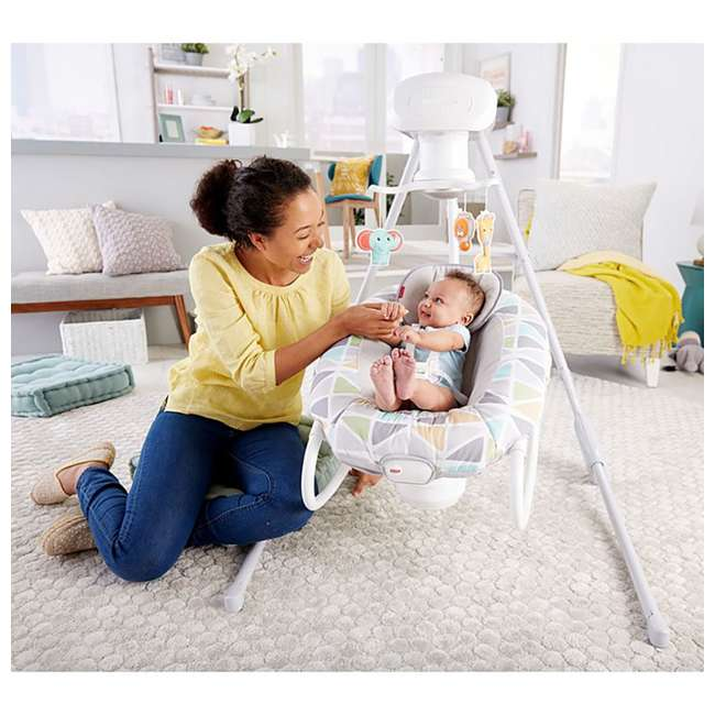 FHW45 Fisher Price 2 In 1 Deluxe Baby Cradle N Swing Rocking Seat Rocker Chair Bouncer 5