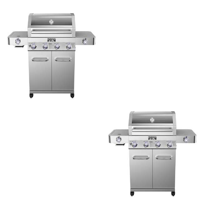 MG-35633 Monument Grills Clearview Lid 4 Burner w/Side Sear Burner Propane Grill (2 Pack)