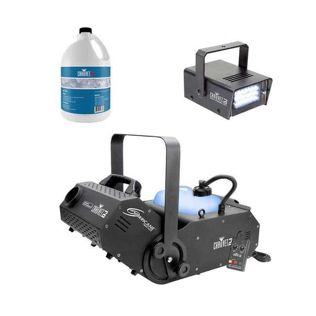 H1800FLEX + FJU + MINISTROBE-LED Chauvet DJ Hurricane 1800FLEX Fog Machine w/ Fog Juice (1 Gallon), Strobe Light