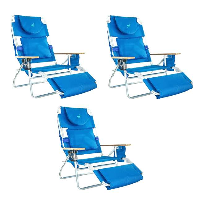 3 x D3N1-1001B Ostrich Deluxe Padded 3-N-1 Outdoor Lounge Reclining Beach Chair, Blue (3 Pack)