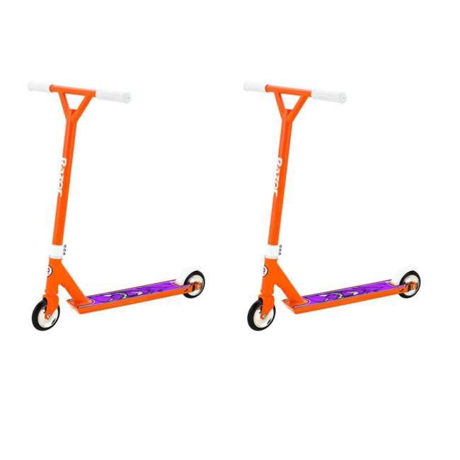 13018180 Razor Pro El Dorado Deluxe Kids Kick Scooter, Orange (2 Pack)