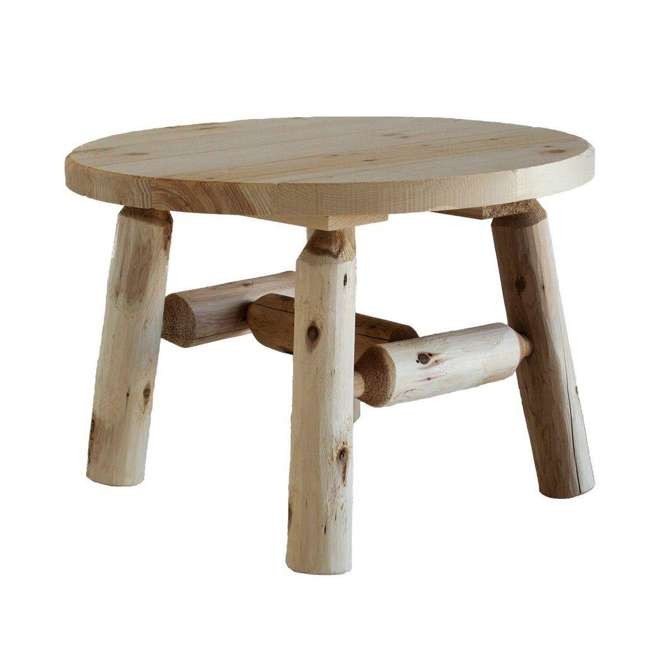 CF1227 Lakeland Mills 25 Inch White Cedar Log Wood Round Patio Coffee Table, Natural