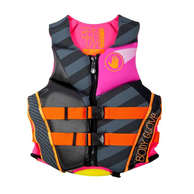 16224W-BLKPNK-XL LNK1 - Body Glove Phantom USCGA Neoprene PFD Life Vest X-Large, Pink/Black