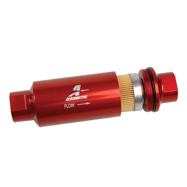 AERO-12301 Aeromotive 12301 In-Line Filter (AN-10) 10 Micron Fabric Element, Red Finish 1